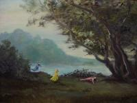 At The Lake - After Noon At The Lake - Oil On Canvas