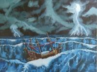 Realistic - Queen Annes Revenge In A Storm - Oil Paint