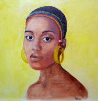 Ethiopian Girl - Oil On Fibreboard Paintings - By Anna Telesheva, Oil Portrait Painting Artist