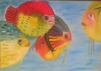 My Collection - Moody Fishes - Oil On Oil Sheet