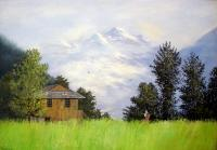 Nature - Green Fields Of Manali - Oil On Canvas