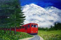 Solace In Nature - Red Train - Oil On Canvas