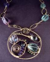 Bold Swirl Pendant Necklace - Gemstone Jewelry - By Sally Ulanosky, Wiresculpting Jewelry Artist