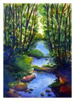 River Malini - Kanvashram - Watercolour On Fabriano Sheet Paintings - By Arunima Kapoor, Impressionism Painting Artist