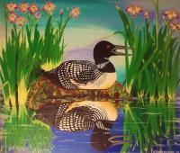 The Loon - Acrylic Paint On Canvas Paintings - By Steve Trudeau, Realism Painting Painting Artist