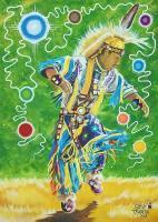 Painting - Anishinaabe Grass Dancer Joshua Shaw - Acrylic Paint On Canvas