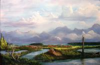 Rivers End - Acrylic Paintings - By John Wise, Western Scenes Painting Artist