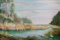 Natalies Slough - Acrylic Paintings - By John Wise, Western Scenes Painting Artist