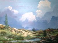 Alpine Vale - Acrylic Paintings - By John Wise, Western Scenes Painting Artist