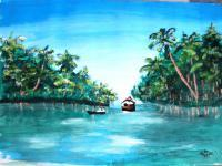 Landscape - Periyar River - Watercolor