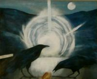 Crow Feast - Acrylic Paintings - By Matthew J Rice, Nature Landscape Painting Artist