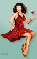 Red Wine - Digital Airbrush Digital - By Patricia Anne Mccarty, Smooth Airbrush Digital Artist