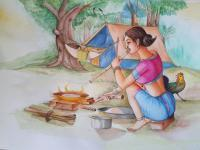 Water Colour - Tribal Woman-3 - Water Colour