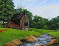Acrylic Landscape - Barn And Stream - Acrylic