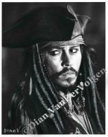 Movie Characters - Captain Jack Sparrow Orignal Drawing - Graphite  Charcoal
