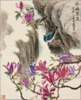 The Crystalline Violet Vapour - Ink Chinese Color Paintings - By Wong Tsz Mei, Chinese Painting Painting Artist