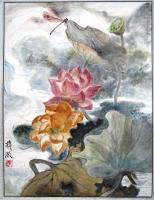 Artist Owned - Lotus Land Part 1-----Lotuses With A Dragonfly - Ink Chinese Color