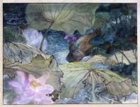 Artist Owned - Lotus Landpart 3----A Wild Duck In The Lotus Pond - Ink Chinese Color