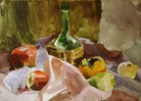 Still-Life - Still-Life With Green Bottle And Fruits - Watercolor