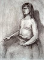 Portrait - Model With  A Blanket - Charcoal