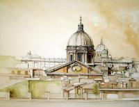 Classical Sepia Series - Rooftops Of Rome - Watercolor