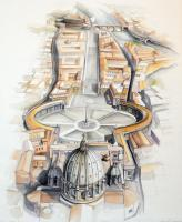 Classical Sepia Series - Aerial View Of The Vatican And Beyond - Watercolor