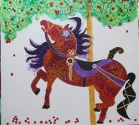 Carousel Horse In A Cherry Tree - Acrylicoil On Canvas Mixed Media - By Cat Guarino, Abstract Within Reality Mixed Media Artist