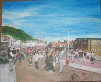 Shrove Tuesday On The Sands - Acrylic Paintings - By Granpop Granny Marsay, Folk Art Painting Artist