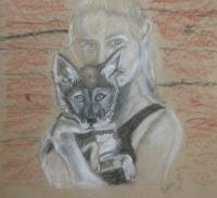 Practice - Girl With Wolf - Conte Crayon