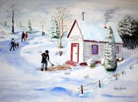 A Snowy Church Day - Giclee Print Paintings - By John Lane, Realism Painting Artist