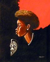 Realism - Girl And African Death Mask - Giclee Print