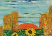 Elin Bogomolnik Landscapes - Landscape With Sunflowers Oil Painting Bogomolnik - Oil Painting On Canvas