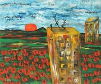 Elin Bogomolnik Landscapes - Landscape With Poppies Oil Painting Bogomolnik - Oil Painting On Canvas