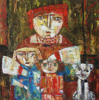 Elin Bogomolnik Gallery - Mammy Children And Cat Oil Painting Bogomolnik - Oil Painting On Canvas