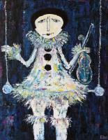 Elin Bogomolnik Gallery - Pierrot Oil Painting Bogomolbik - Oil Painting On Canvas
