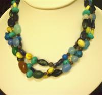 Fun With Stones - 3-Strand Stone Necklace - Stones