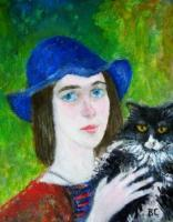 A Girl With A Cat - Oil On Canvas Paintings - By Vlad Stanchev, Realism Painting Artist