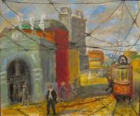 City Landscape - Moscow Street In 1953 - Oil On Canvas