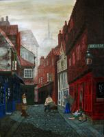 Dickens London Catching Up - Oil On Canvas Paintings - By Cecil Williams, Realism Painting Artist