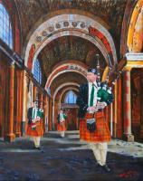 People - 3 Pipers - Oil On Canvas