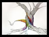 Andreas Tree - Pen  Ink With Oil Pastel Drawings - By Jeffrey Locke-Lemert, Surealistic Drawing Artist
