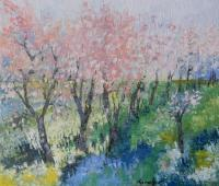 Nature - Trees In Bloom - Oil On Canvas