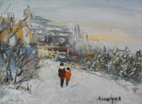 City Landscape - Early Winter - Oil On Canvas