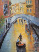 Cityscape - Venice Canal - Oil On Canvas