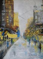 Cityscape - New York Street - Oil On Canvas