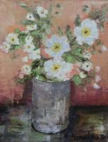 Flowers - Vase With Apple Blossom - Oil On Canvas