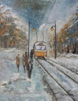 Landscape - Tram Station - Oil On Canvas