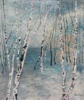 Trees - Cluster Of Birches - Acrylic On Canvas