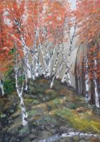 Trees - Birches At The Edge Of The Forest - Oil On Canvas