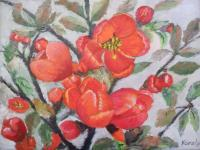 Flowers - Quince Flowers - Oil On Canvas